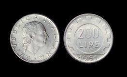 Старая монетка в Италии, 200 лирах года 1991 стоковые изображения rf