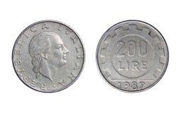 Старая монетка в Италии, 200 лирах 1987 стоковые изображения