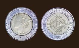 Старая монетка в Италии, liret 500 стоковое фото rf