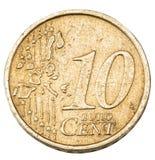 Старая монетка евро 10 центов Стоковое Фото