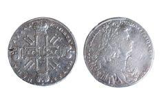 Старая монетка изолировала Стоковое Изображение
