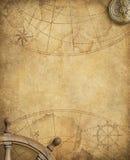 Старая морская карта с компасом и рулевым колесом Стоковые Изображения