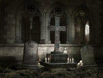 Старая молельня с свечами на ноче Стоковая Фотография