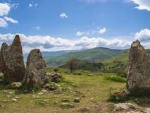 Старая обсерватория Zorats Karer, Karahunj, известной армянки Stonhenge в Sisian, Армении 18 Стоковые Изображения RF