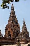 Старая пагода на виске Chaiwatthanaram Стоковое фото RF