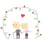 Старая пара в влюбленности иллюстрация вектора