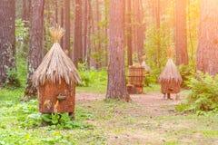 Старая пасека при искусственные крапивницы сделанные соломы и дерева b стоковые фотографии rf