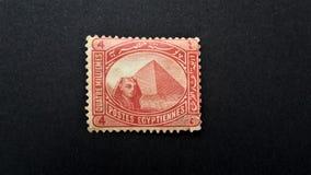 Старая печать почтового сбора Египта египетская пирамидка стоковая фотография rf