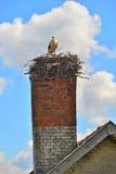 Старая печная труба с гнездом аиста аиста аиста Стоковое Фото