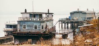Старая плавая пристань Этап посадки Стоковые Изображения