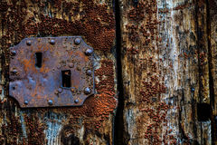 Старая покрашенная деревянная дверь Стоковое Фото