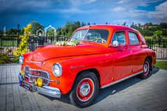 Старая польская свадьба автомобиля FSO Варшавы Стоковое Фото