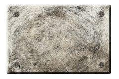 Старая поцарапанная металлическая пластина прикрепленная с 4 болтами Стоковое Изображение
