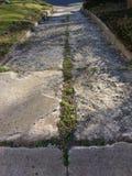 Старая подъездная дорога в потребности ремонта Стоковая Фотография