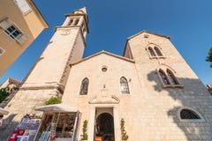 Старая православная церков церковь сделанная камня в византийском стиле в Budva Адриатическом море, Черногории Стоковые Фото