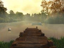 Старая пристань в озере
