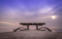 Старая пристань на восходе солнца Стоковые Фото