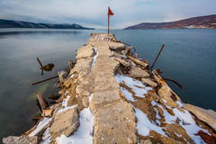 Старая пристань на море Стоковое Фото