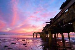Старая пристань на пляже Стоковое фото RF