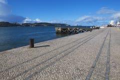 Старая пристань на реке в Лиссабоне Стоковая Фотография