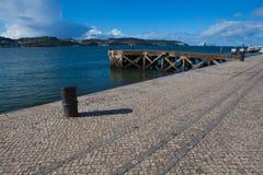 Старая пристань на реке в Лиссабоне Стоковое Фото