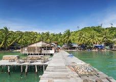 Старая пристань острова rong koh в Камбодже Стоковые Фотографии RF