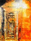 Старая промышленная золотая ржавая металлическая дверь Стоковые Изображения