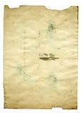 Старая пустая античная бумага на белой предпосылке Стоковое Изображение RF