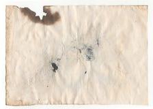 Старая пустая античная бумага на белой предпосылке Стоковое Изображение