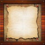 Старая пустая бумага в деревянной рамке иллюстрация вектора