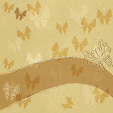 Старая пятнистая бумага с бабочками Стоковые Фото