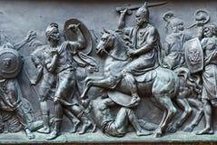 Старая плита статуи утюга русского Стоковые Фото