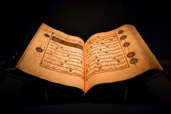 Старая раскрытая книга которая загорена только немножко стоковая фотография