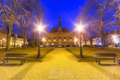Старая ратуша на ноче в парке Гданьска Стоковые Изображения