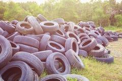 Старая резиновая автошина автомобиля в поле зеленой травы Польза для окружающей среды co стоковые изображения rf