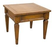 Старая ретро мебель таблицы конца изолированная на белизне стоковые изображения rf