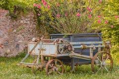 Старая ржавая аграрная колесница была покинута в саде Стоковая Фотография