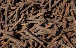 Старая ржавая предпосылка текстуры ногтя Стоковые Фотографии RF