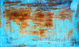 Старая ржавая текстура металла покрашенная с голубой краской Стоковое фото RF