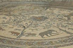 Старая римская мозаика одичалых африканских животных Стоковые Изображения RF