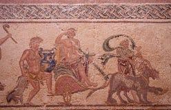 Старая римская мозаика пола дома показывая триумф рассказа Dionysus в paphos Кипре парка kato стоковое фото rf