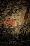 Старая римская мраморная мозаика пола с женщиной Стоковое Изображение