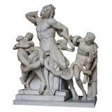 Старая римская мраморная статуя Laocoon и его сыновьья изолировали whi стоковое фото rf