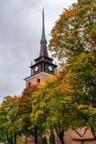 Старая розовая каменная церковь с осенью покрасила деревья стоковое фото