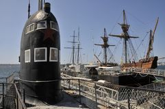Старая русская подводная лодка на морском музее Стоковое Изображение