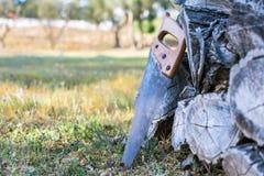 Старая ручная пила отдыхая на куче деревянного пиломатериала Сельская концепция образа жизни стоковое фото rf