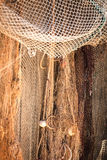 Старая рыболовная сеть в гавани с пробочкой плавает Стоковая Фотография RF
