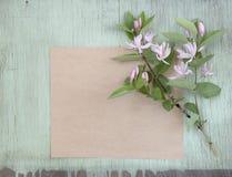Старая скомканная бумага с розовыми цветками на предпосылке grunge Стоковое Изображение RF