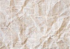 Старая скомканная предпосылка текстуры газеты стоковая фотография rf