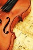 Старая скрипка на предпосылке примечаний стоковые фотографии rf